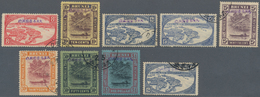 Brunei: 1942/44, Used: 8 C. Red, 10 C.-$1, Plus A 12 C. With Blue Ovpt. (SG Cat. £450). - Brunei (1984-...)