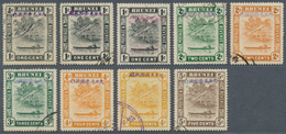Brunei: Japanese Occupation, 1942, 1 C. With Violet Ovpt. (2), With Red Ovpt., 2 C. Green, 2 C. Oran - Brunei (1984-...)