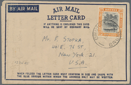 Brunei: 1948, Air Mail Letter Card Addressed To USA Franked With 30c. Brunei River Tied By BRUNEI Da - Brunei (1984-...)