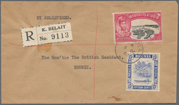 Brunei: 1950, Registered Letter With 8c Silver Jubilee And 15c River Form KUALA BELAIT To The Britis - Brunei (1984-...)