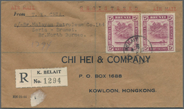 Brunei: 1951 Registered Airmail Cover From Kuala Belait To Kowloon, Hongkong Franked By 1947 25c. De - Brunei (1984-...)