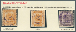 Brunei - Stempel: BELAIT (type D3): 1923/24, Three 'bush Huts And Canoe' Stamps With Fine Cancels Of - Brunei (1984-...)