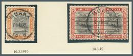 Brunei - Stempel: MUARA (type D2 State II): 1910, 'bush Huts And Canoe' 8c Single And 2c Horizontal - Brunei (1984-...)