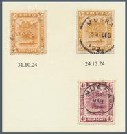 Brunei - Stempel: MUARA (type D2 State III): 1924, 'bush Huts And Canoe' 5c Orange Two Singles With - Brunei (1984-...)