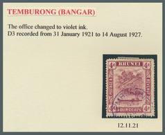 Brunei - Stempel: TEMBURONG (type D3): 1921/25, Five 'bush Huts And Canoe' Stamps With Good To Fine - Brunei (1984-...)