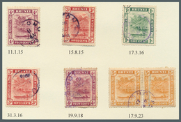 Brunei - Stempel: TUTONG (type D2): 1915/23, Seven 'bush Huts And Canoe' Stamps (incl. Rejoined Pair - Brunei (1984-...)