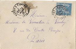 LETTRE NOYEN SUR SARTHE TYPE 17 SAGE 1880 - Postmark Collection (Covers)