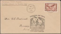 Canada 1937. Lettre Par Courrier Aérien. Premier Vol. Prince Albert à Norite Bay. Police Montée, Cheval, Hydravion - Polizia – Gendarmeria