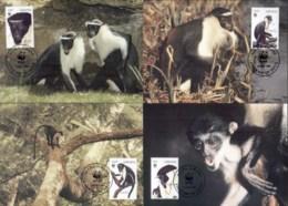 Ghana 1994 WWF Diana Monkey Maxicards - Ghana (1957-...)
