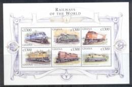 Ghana 1999 Railways Of The World, Conrail MS MUH - Ghana (1957-...)