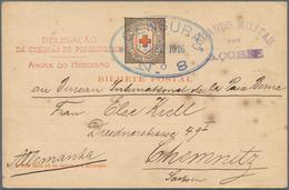Thematik: Rotes Kreuz / Red Cross: 1916 Portugal Kriegsgef.-Vordruck-Karte Des Roten Kreuzes Mit Zen - Red Cross