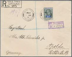 Jungferninseln / Virgin Islands: 1912 Registered Cover From Tortola To Germany Via St. Thomas, Danis - British Virgin Islands