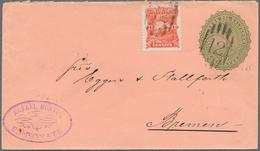 """El Salvador - Ganzsachen: 1891, Envelope 10 C. Green Uprated 1 C. Carmine Tied Oval Grill """"12"""" From - El Salvador"""