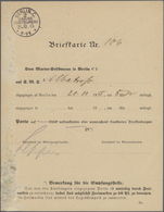 """Deutsche Schiffspost - Marine: 1915 Formular """"Briefkarte Nr....SMS"""" (hs.Albatros) M. Post-o """"Berlin - Deutschland"""