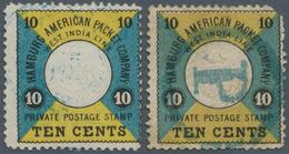 Deutsche Schiffspost - Seepostmarken: 1875/1879, 10 C Schwarz/blaugrün/gelb (MiNr.1) Mit Blauem Stem - Deutschland