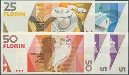 Aruba: Set Of 5 Notes Containing 2x 5 Florin 1990, 10 Florin 1990, 25 Florin 1990 And 50 Florin 1990 - Aruba (1986-...)