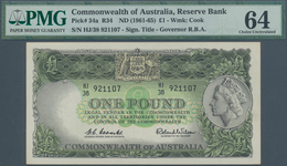 Australia / Australien: 1 Pound ND(1961-65) P. 34a, Condition: PMG Graded 64 Choice UNC. - Australia