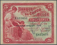 Belgian Congo / Belgisch Kongo: 5 Francs 1942 P. 13, Used With Light Folds And Creases In Paper, Pen - [ 5] Belgian Congo