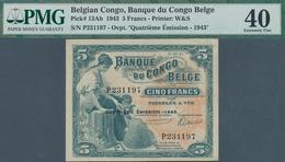 Belgian Congo / Belgisch Kongo: Banque Du Congo Belge 5 Francs 1943, Vertically Folded, Some Other M - [ 5] Belgian Congo