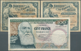 Belgian Congo / Belgisch Kongo: Very Interesting Set With 3 Banknotes 5 Francs 1944 P.13Ac In F- Wit - [ 5] Belgian Congo