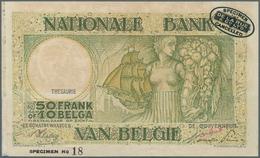 Belgium / Belgien: 50 Francs = 10 Belgas ND(1945) Specimen P. 106s, Light Handling And Stain In Pape - Belgium
