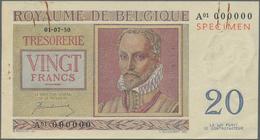 Belgium / Belgien: 20 Francs 1950 Specimen P. 132as, A Rarely Seen Specimen Note With Red Overprint - Belgium