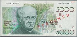 Belgium / Belgien: 5000 Francs ND(1982-97) Speicmen P. 145s, Zero Serial Numbers, Specimen Overprint - Belgium