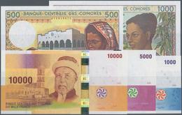 Comoros / Komoren: Set Of 5 Pcs Containing 500 Francs ND(1984-2004) P. 10b, 1000 Francs ND(1984-2004 - Comoros