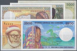 Comoros / Komoren: Set Of 5 Banknotes Containing 500, 1000, 2500, 5000 & 10.000 Francs ND(1984-2005) - Comoros