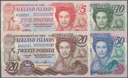 Falkland Islands / Falkland Inseln: Set Of 4 Banknotes Containing 5 Pounds 2005, 10 Pounds 2011, 20 - Falkland Islands