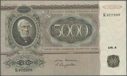 Finland / Finnland: 5000 Markkaa 1945 P. 83a, Only A Light Center And Horizontal Fold, Crisp Origina - Finland