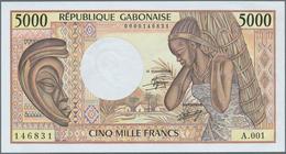 Gabon / Gabun: Set Of 2 Notes Containing 5000 & 10.000 Francs ND(1974) P. 6, 7, Very Colorful Notes, - Gabon