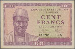 Guinea: 100 Francs 1958 P. 7, Center Fold, Light Horizontal Fold, Very Crisp Original Paper, Origina - Guinea