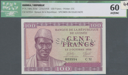 Guinea: 100 Francs 02.10.1958 Specimen P. 7s, With Specimen Perforations In Paper, Regular S/N 02355 - Guinea