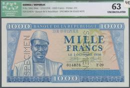 Guinea: 1000 Francs 02.10.1958 Specimen P. 9s, Perforated Specimen Two Times, Regular S/N 014876 F09 - Guinea