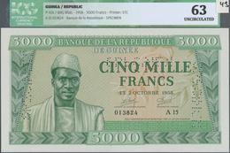 Guinea: 5000 Francs 02.10.1958 Specimen P. 10s, With Three Specimen Perforations In Paper, Regular S - Guinea