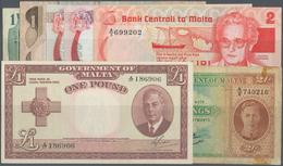 Malta: Set Of 7 Banknotes Containing 2 Shillings ND(1942) P. 17b (F), 1 Pound L.1949 Portrait KGVI P - Malta