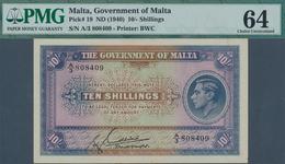 Malta: 10 Shillings ND(1940) P. 19 In Condition: PMG Graded 64 Choice UNC. - Malta