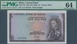 Malta: 5 Pounds ND(1968) P. 30 In Condition: PMG Graded 64 Choice UNC. - Malta