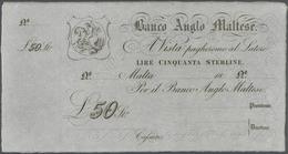 Malta: 50 Lire Serling 18xx Banco Anglo Maltese, Remainder, Unsigned In Condition: UNC. - Malta