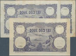 Romania / Rumänien: Banca Naţională A României Set With 3 Banknotes 20 Lei 1928, 1929, One With 2 Si - Romania