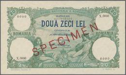 Romania / Rumänien: 20 Lei 1939 Specimen P. 41, Rare Note With Zero Serial Numbers, Red Specimen Ove - Romania
