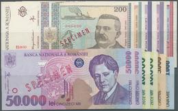 Romania / Rumänien: Set Of 11 Specimen Notes Containing 1000 Lei 1998 (UNC), 5000 Lei 1998 (UNC), 2x - Romania