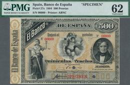 "Spain / Spanien: 500 Pesetas 1 January 1884 ""Juan Alvarez De Mendizabal"" SPECIMEN 00000, P.27s Beaut - Spain"