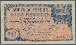 "Spain / Spanien: 10 Pesetas 1936 With Cancellation ""inutilizado"", Regular Serial Number, P. 98s, Lig - Spain"