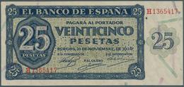 "Spain / Spanien: 25 Pesetas 1936 With Cancellation ""inutilizado"", Regular Serial Number, P. 99s, One - Spain"