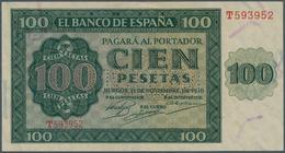 "Spain / Spanien: 100 Pesetas 1936 With Cancellation ""inutilizado"", Regular Serial Number, P. 101s, I - Spain"