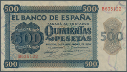 Spain / Spanien: 500 Pesetas 1936 With Cancellation Perforation P. 102s, Regular Serial Number, Vert - Spain