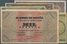 Spain / Spanien: Set Of 5 Notes Containing 25 Pesetas 1938 P. 111 (VF), 50 Pesetas 1938 P. 112 (VF), - Spain