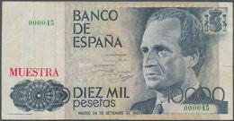 """Spain / Spanien: 10.000 Pesetas 1985 SPECIMEN, P.161s With Red Overprint """"Muestra"""" And Serial Number - Spain"""